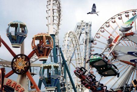 Amusement rides at beach.