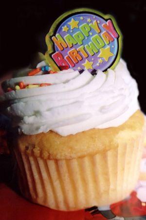 jimmies: Birthday cupcake. Stock Photo
