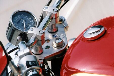 Closeup of a motorcycle.