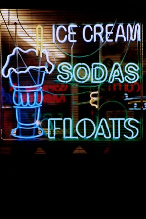 Neon lights in the window of a restaurant. Stock Photo