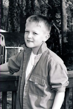 canny: Black and white portrait of preteen boy.