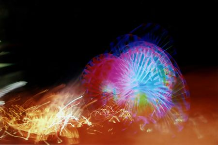 erratic: Abstract of amusement rides.  Intentional blur. Stock Photo