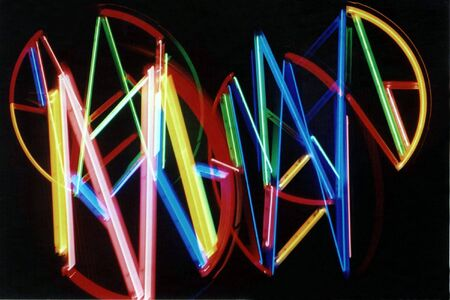 multiple exposure: Abstract esposizione multipla di luci al neon.