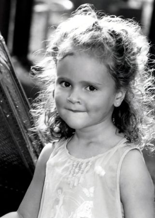 wavering: Black and white portrait of preschool age girl.