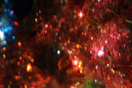 Abstract of a Christmas tree.  Intentional blur.