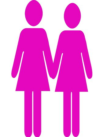 Two female stick figures holding hands. photo