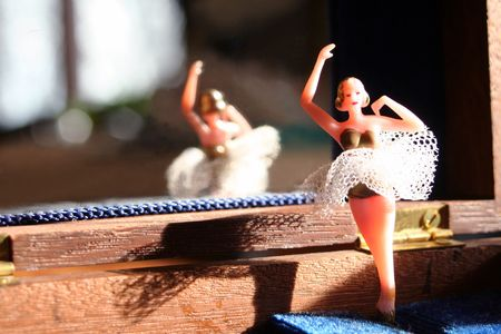 Ballerina with reflection in a jewelry music box.