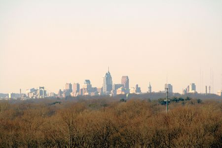 contradict: Skyline of Philadelphia, PA, from suburban southern New Jersey.