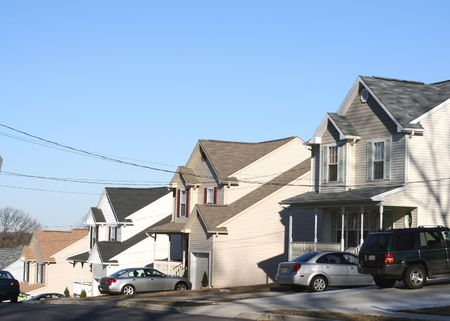 Row of identically constructed homes. photo