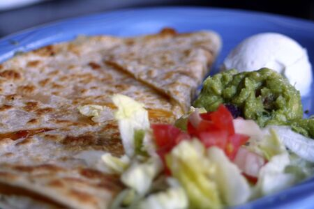 Plate of quesadillas as an appetizer.