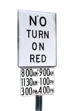 bewildering: No Turn On Red sign with addendum Stock Photo