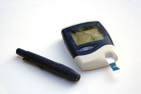 Meter and diabetic supplies to read glucose levels.