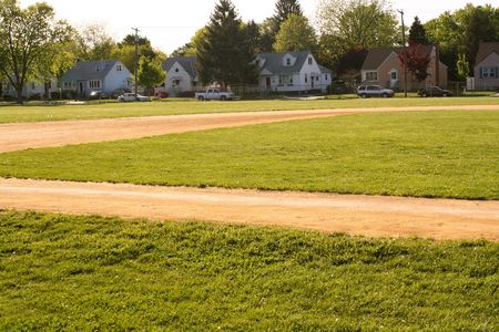 Baseball field in the middle of a small town. photo