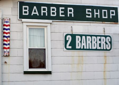 shorten: Side view of a barber shop. Stock Photo