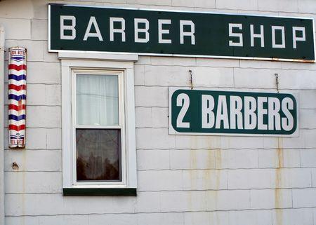 barber shop: Zijaanzicht van een kapper winkel.