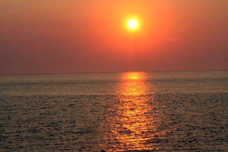 afflux: Coucher de soleil au Cap-Mai, du New Jersey, de l'horizontale. Banque d'images