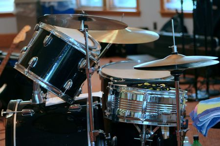 Black drum set Stock Photo
