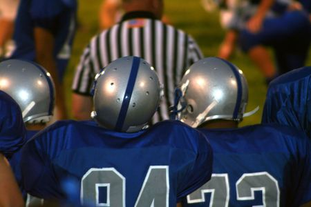strapping: High School Football 6 Stock Photo