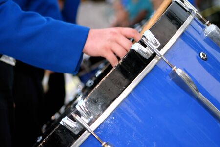 march band: Marching Band Bass Drum Stock Photo