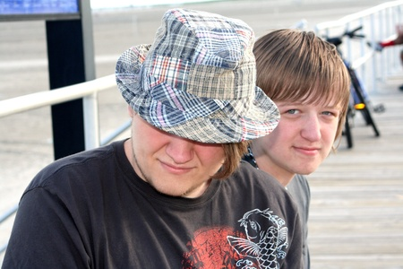 Teen Brothers on Boardwalk photo