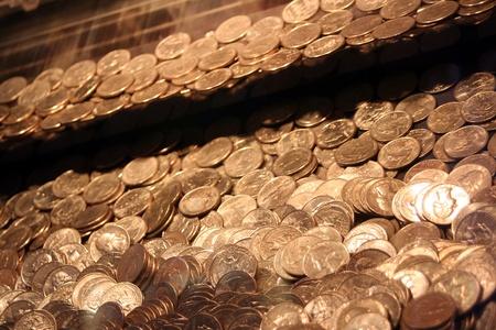 disorganized: Quarters In An Arcade Game 2 Stock Photo