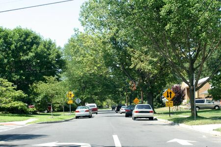 suburbs: Residential Street 1 Stock Photo