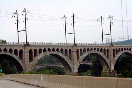 lines: Arched Railroad Bridge Stock Photo