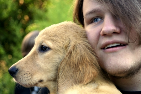 Teen Boy And Golden Puppy 1 photo