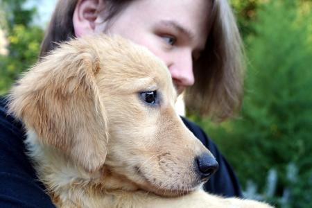 Teen Boy And Golden Puppy