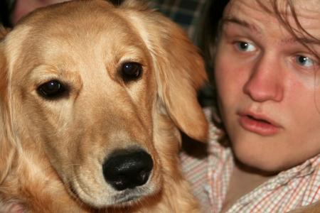 blabber: Teen Talking To Bored Dog Stock Photo