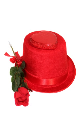 endearment: Red Rose   Candy On Top Hat Stock Photo