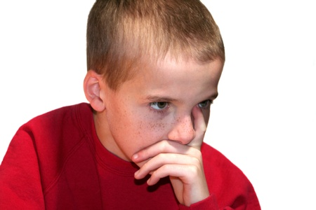 Thinking Boy Staring Ahead Stock Photo - 16882737