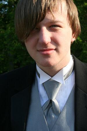 Tuxedo Teen Closeup Portrait photo