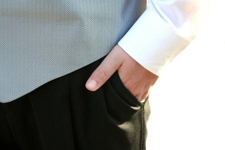 Tuxedo Teen Hand In Pocket Closeup photo