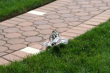 unworn: Pair of Formal Shoes Outdoors