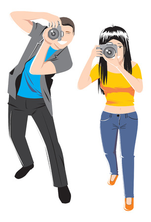 candid: photographers vector