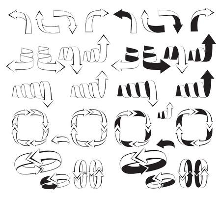 handed: silhouette arrows vector