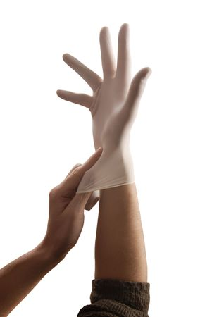 put on white medical glove for anything photo