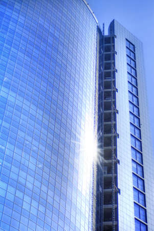 Modern skyscrapers close-up toned in blue color Stock Photo - 4637083