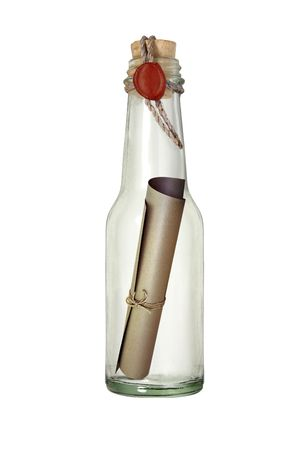 Message in the bottle with sealing wax photo