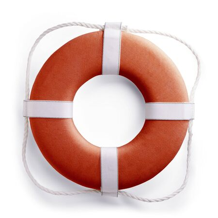 Red safe guard ring against white background  photo