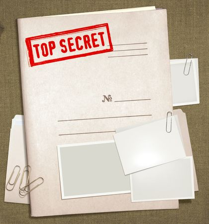 classified: dorsal view of military top secret folder with stamp