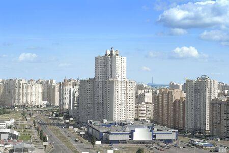 residential settlement: white fancy apartment buildings in residential settlement