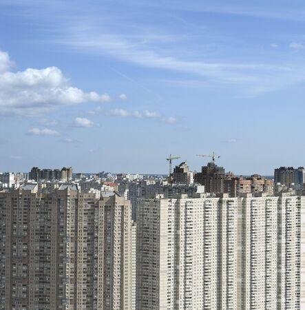 residential settlement: big fancy apartment buildings in residential settlement Stock Photo