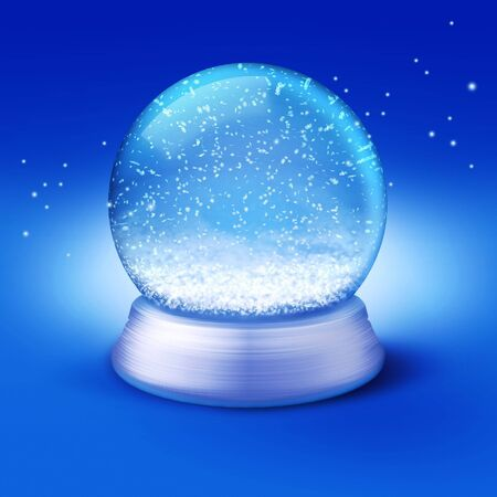 glass globe: Realistic illustration of an empty snow-dome against a blue background - customize by inserting your own object