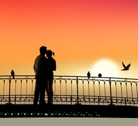Любители: silhouette of bridge and pair of lovers on sunset background