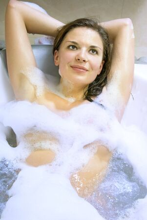 nicely: beautiful woman in the bath of spa salon Stock Photo