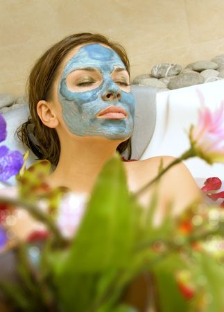 beautiful woman takes treatment in spa salon Stock Photo - 5677263