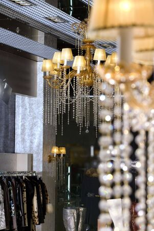 sconce: a view of expensive interior of beautiful boutique