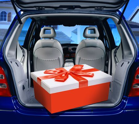 leathern: a fancy box in the passenger compartment of car